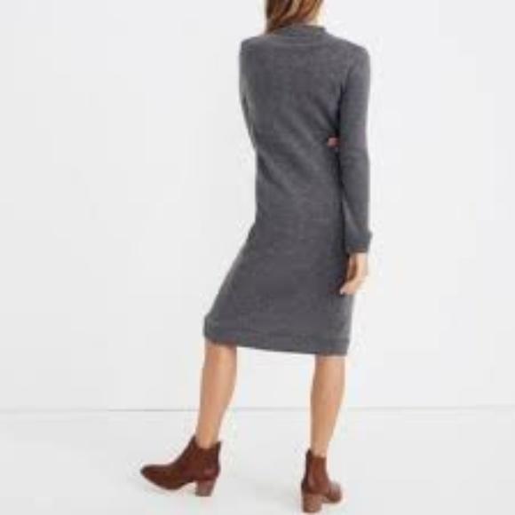 Madewell Gray Cashmere Midi Sweater Dress M